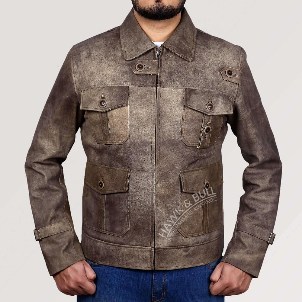 32d057fac Details about The Expendables 2 Jason Statham Distressed Real Leather  Jacket Blockbuster!