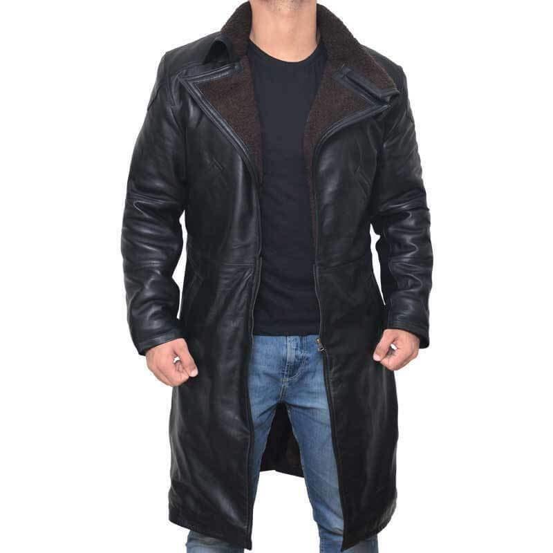 Blade Runner 2 Ryan Gosling Faux Shearling Real Black Leather Long Coat